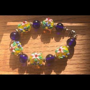 Glass 3 D Flower bracelet Hand painted handmade